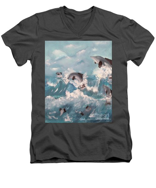 Dolphins At Play Men's V-Neck T-Shirt