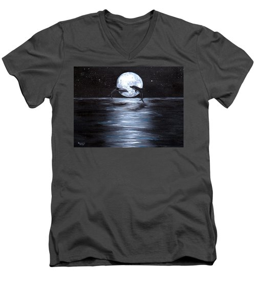Dolphins Dancing Full Moon Men's V-Neck T-Shirt by Bernadette Krupa