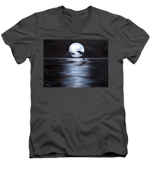 Dolphins Dancing Full Moon Men's V-Neck T-Shirt