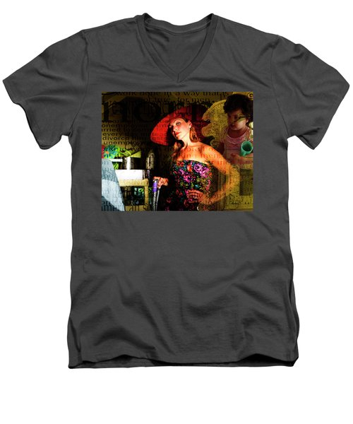 Domestic Considerations O Yeah? Men's V-Neck T-Shirt by Ann Tracy
