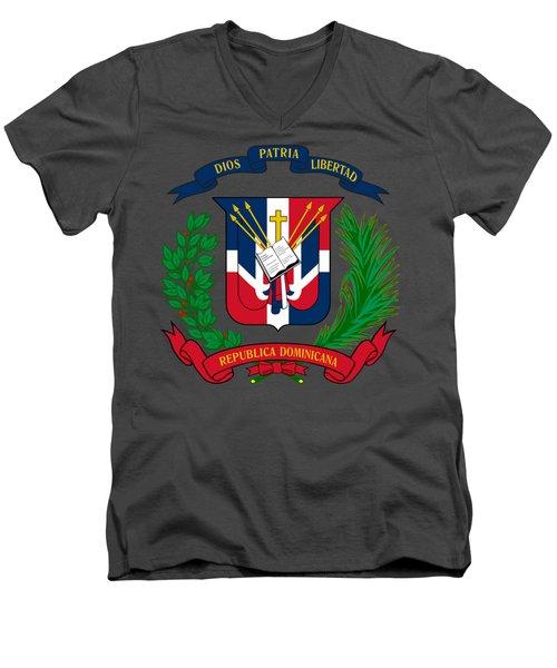 Dominican Republic Coat Of Arms Men's V-Neck T-Shirt