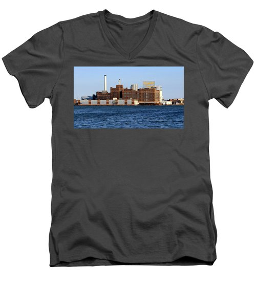Domino Sugar Men's V-Neck T-Shirt by Joseph Skompski