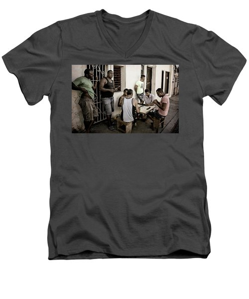 Men's V-Neck T-Shirt featuring the photograph Dominoes by Joan Carroll