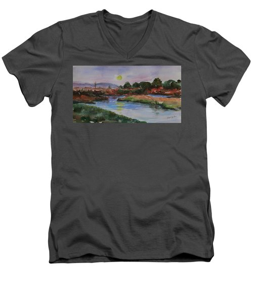 Men's V-Neck T-Shirt featuring the painting Don Edwards San Francisco Bay National Wildlife Refuge Landscape 1 by Xueling Zou