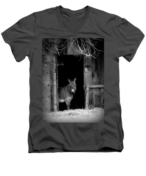 Men's V-Neck T-Shirt featuring the painting Donkey In The Doorway by Michael Dohnalek