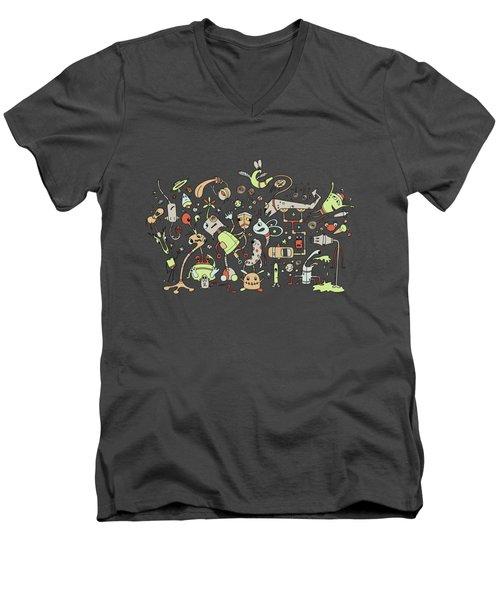 Doodle Bots Men's V-Neck T-Shirt by Dana Alfonso