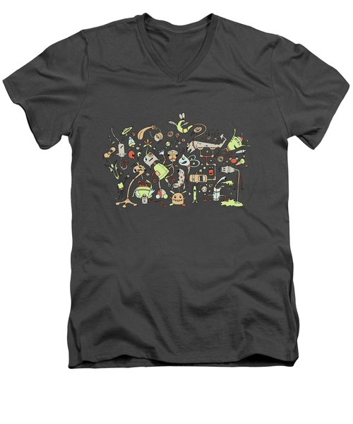 Doodle Bots Men's V-Neck T-Shirt