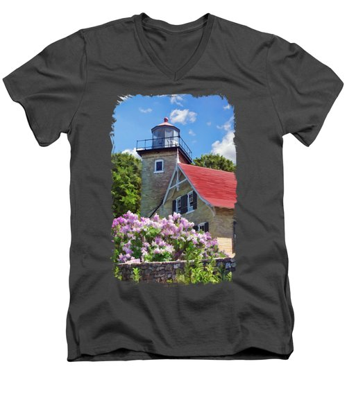Door County Eagle Bluff Lighthouse Lilacs Men's V-Neck T-Shirt