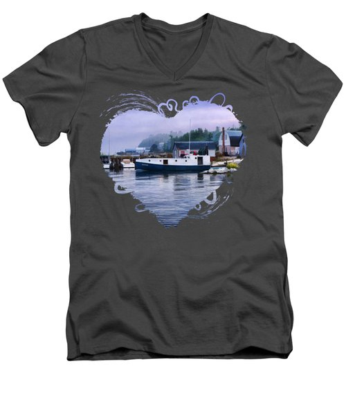 Door County Gills Rock Fishing Village Men's V-Neck T-Shirt by Christopher Arndt