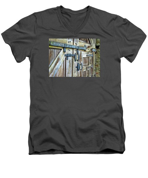 Doors At Caerphilly Castle Men's V-Neck T-Shirt by Judi Bagwell