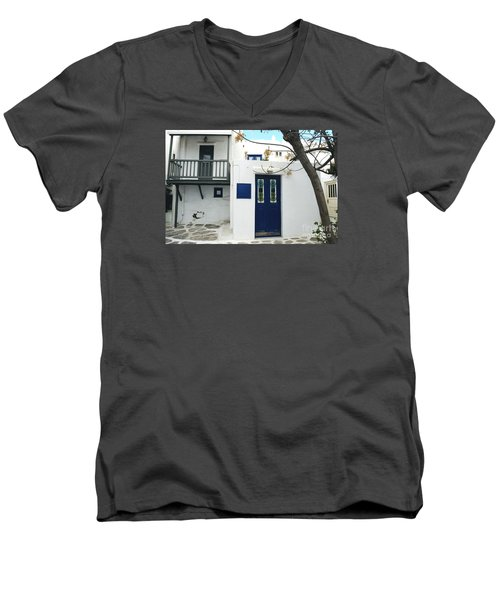 Men's V-Neck T-Shirt featuring the photograph Doors by Haleh Mahbod