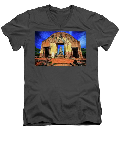 Doorway To Wat Ratburana In Ayutthaya, Thailand Men's V-Neck T-Shirt