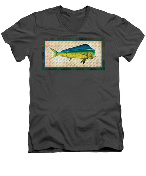 Men's V-Neck T-Shirt featuring the painting Dorado by Jon Q Wright