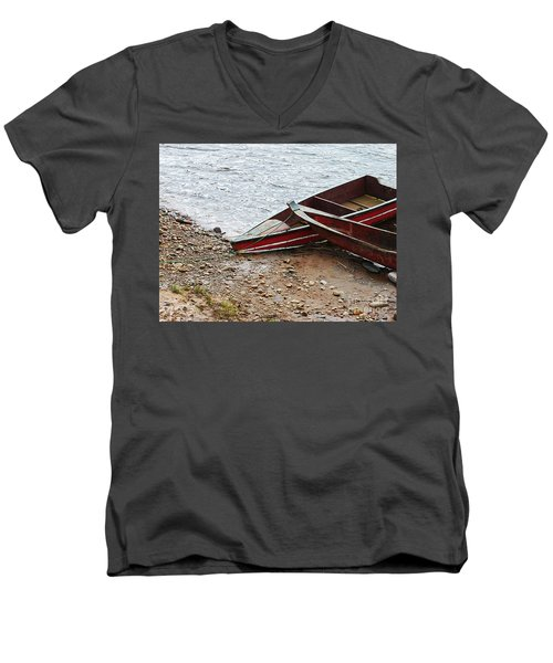 Dos Barcos Men's V-Neck T-Shirt by Kathy McClure