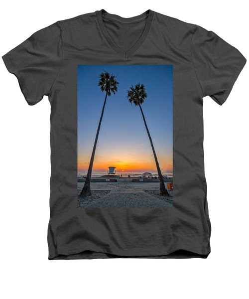 Dos Palms Men's V-Neck T-Shirt by Peter Tellone