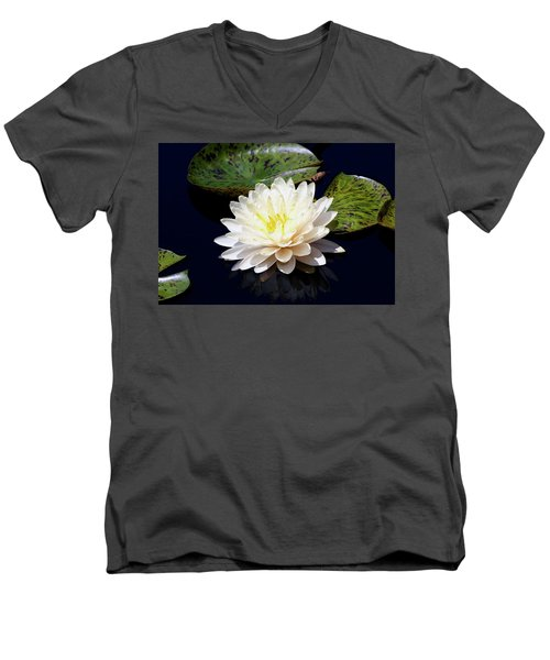 Dotty White Lotus And Lily Pads 0030 Dlw_h_2 Men's V-Neck T-Shirt