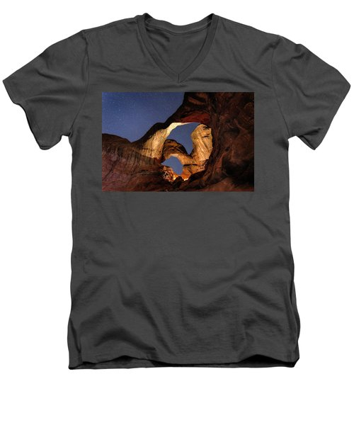 Double Arch At Night Men's V-Neck T-Shirt