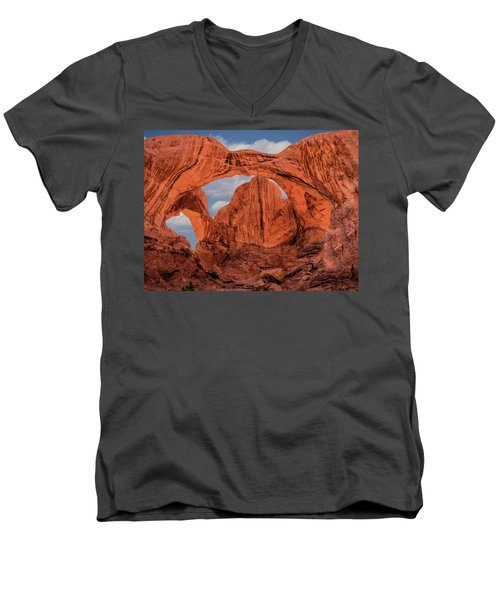 Double Arches At Arches National Park Men's V-Neck T-Shirt by Penny Lisowski