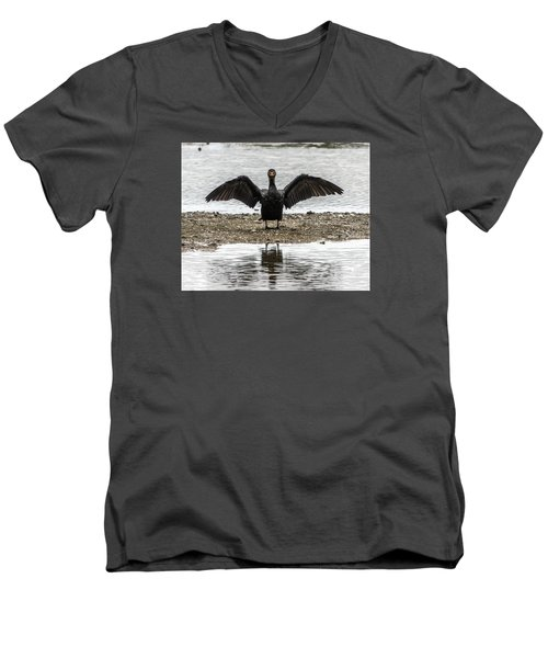 Double Crested Cormorant Portrait Flapping Wings Men's V-Neck T-Shirt