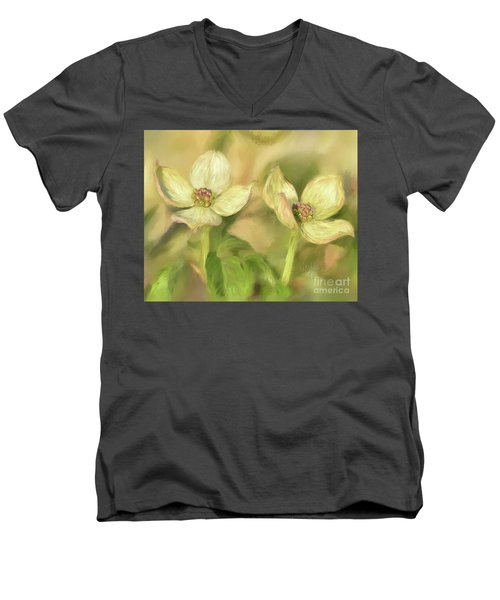Men's V-Neck T-Shirt featuring the digital art Double Dogwood Blossoms In Evening Light by Lois Bryan
