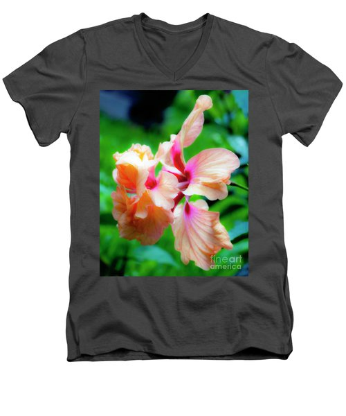 Double Peach Hibiscus Two Men's V-Neck T-Shirt