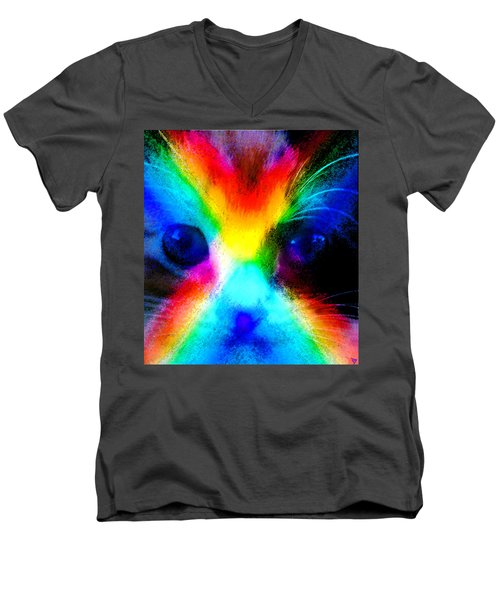 Men's V-Neck T-Shirt featuring the painting Double Rainbow Cat by David Lee Thompson