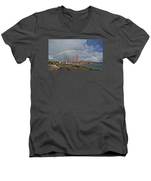 Men's V-Neck T-Shirt featuring the photograph Double Rainbow Golden Gate Bridge by Steve Siri