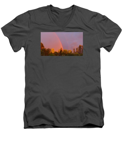Men's V-Neck T-Shirt featuring the photograph Double Rainbow Over Bow by Karen Molenaar Terrell