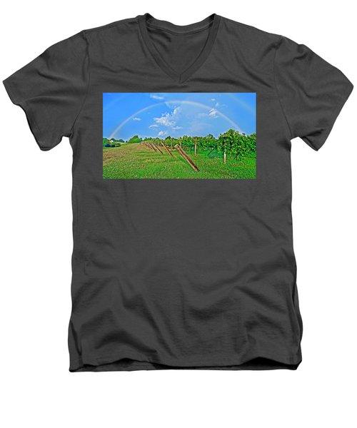 Double Rainbow Vineyard, Smith Mountain Lake Men's V-Neck T-Shirt