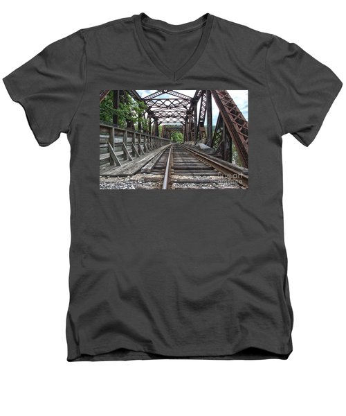 Double Truss Bridge #1679 On The Wmsr Men's V-Neck T-Shirt by Jeannette Hunt