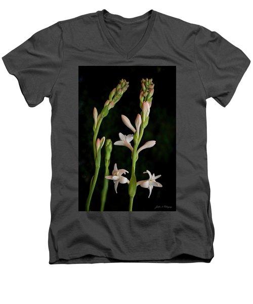 Double Tuberose In Bloom #2 Men's V-Neck T-Shirt