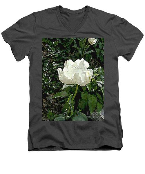 Double Tulip In White Men's V-Neck T-Shirt by Nancy Kane Chapman