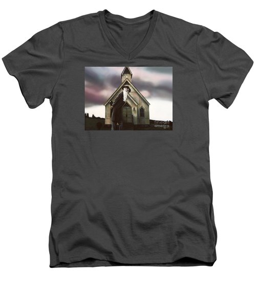 Men's V-Neck T-Shirt featuring the painting Doubt Or Faith by Dave Luebbert