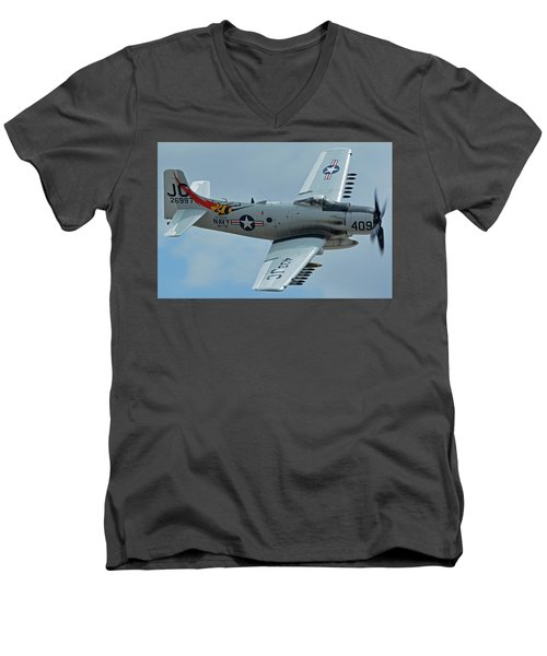 Men's V-Neck T-Shirt featuring the photograph Douglas A-1d Skyraider Nx409z Chino California April 30 2016 by Brian Lockett