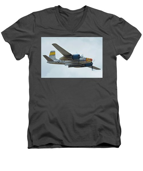 Men's V-Neck T-Shirt featuring the photograph Douglas A-26b Invader Nl99420 Silver Dragon Chino California April 30 2016 by Brian Lockett