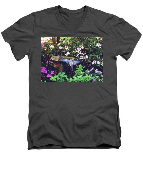 Men's V-Neck T-Shirt featuring the photograph Dove In Flight by Debra Crank