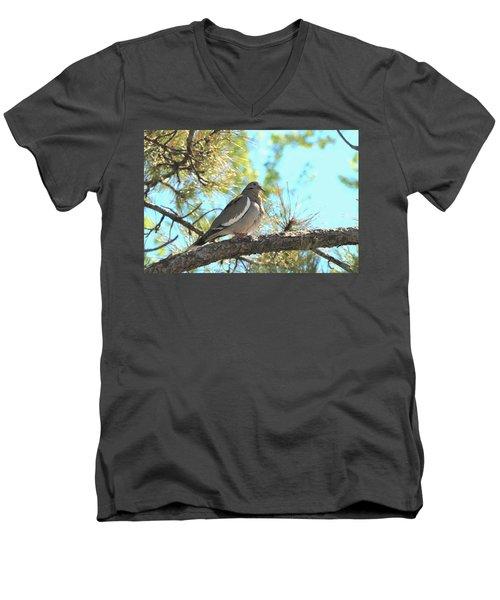 Dove In Pine Tree Men's V-Neck T-Shirt