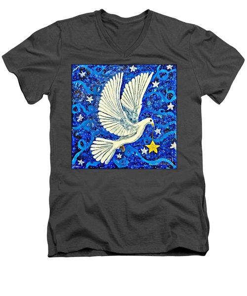 Dove With Star Men's V-Neck T-Shirt