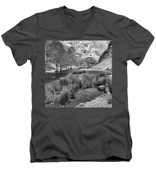 Dovedale, Peak District Uk Men's V-Neck T-Shirt by John Edwards