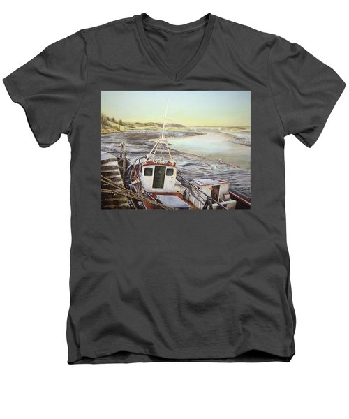 Down By The Docks Men's V-Neck T-Shirt by Marty Garland