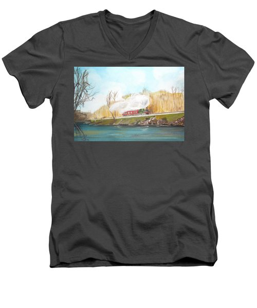 Down By The River Side Men's V-Neck T-Shirt by Carole Robins