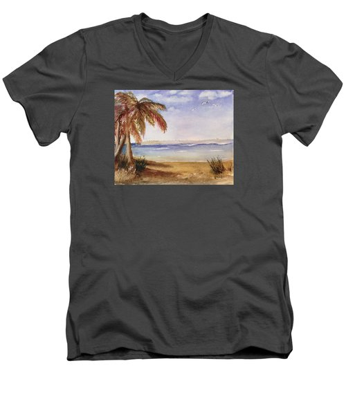Down By The Sea Men's V-Neck T-Shirt by Heidi Patricio-Nadon