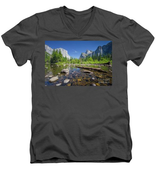 Down In The Valley Men's V-Neck T-Shirt by JR Photography