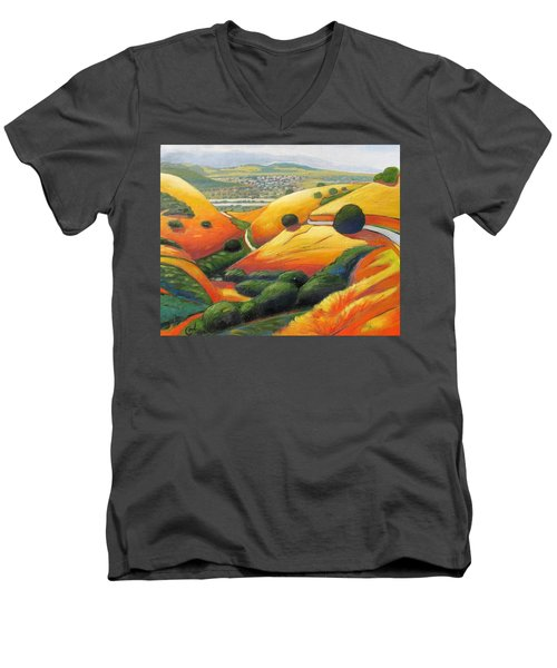 Men's V-Neck T-Shirt featuring the painting Down Metcalf Road by Gary Coleman