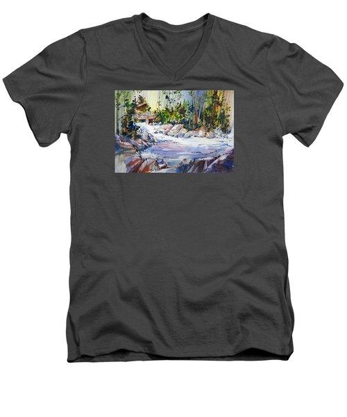 Down Stream On Hoppers Creek Men's V-Neck T-Shirt by P Anthony Visco