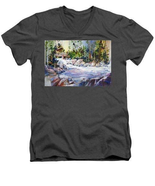 Down Stream On Hoppers Creek Men's V-Neck T-Shirt