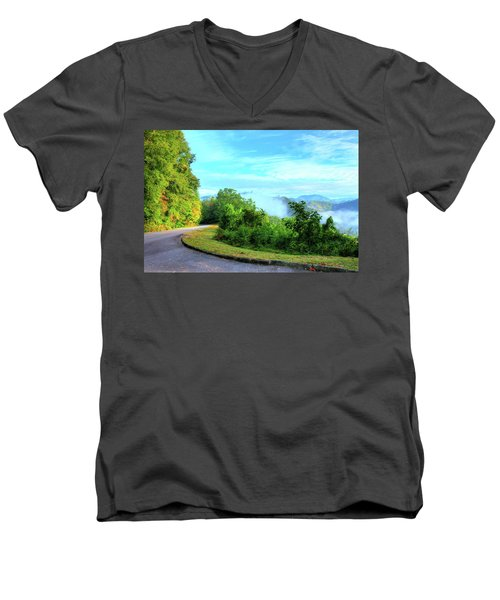 Down The Mountain Men's V-Neck T-Shirt