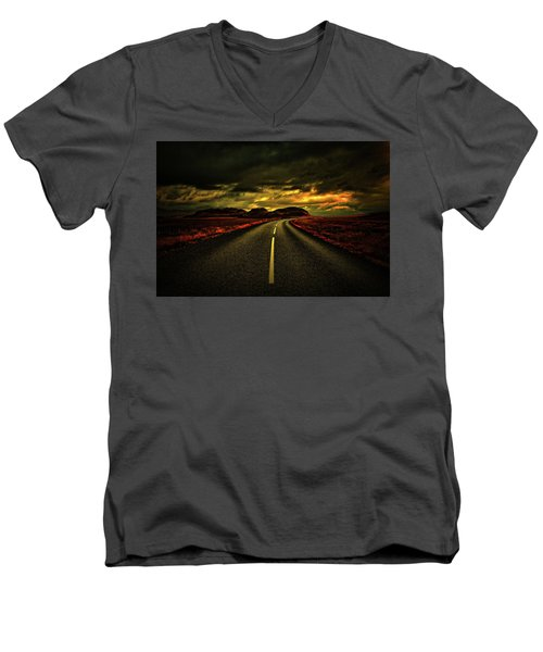 Men's V-Neck T-Shirt featuring the photograph Down The Road by Scott Mahon