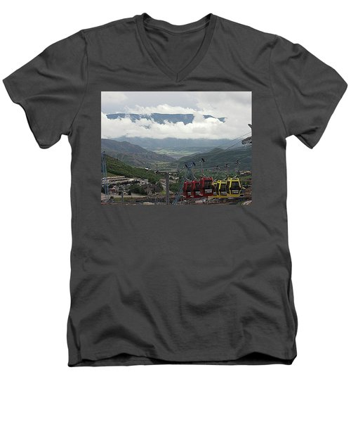 Down The Valley At Snowmass Men's V-Neck T-Shirt by Jerry Battle