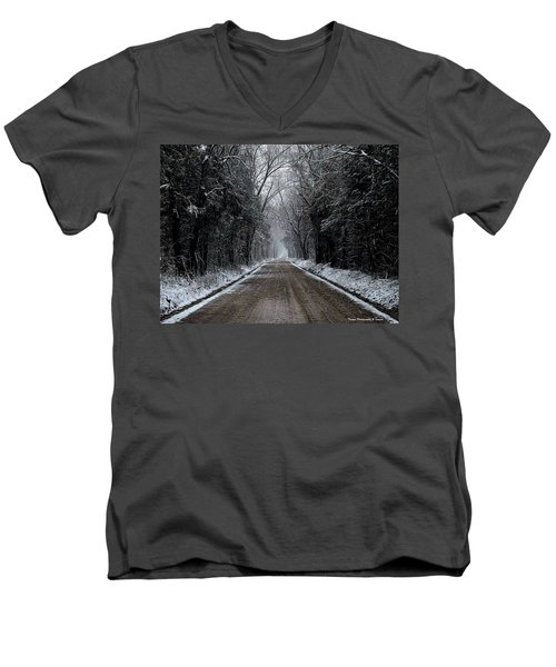 Down The Winter Road Men's V-Neck T-Shirt